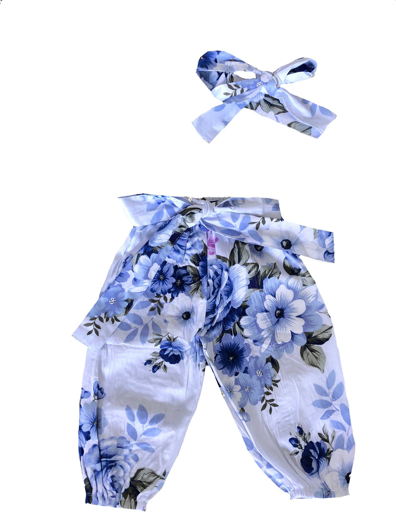 MLW By Design - Blue Floral Harems & Matching Headwrap