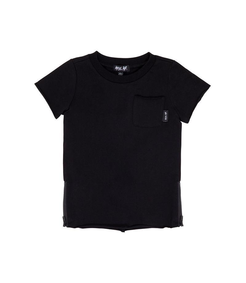 Miss Mr - Zipped Raw Tee Black