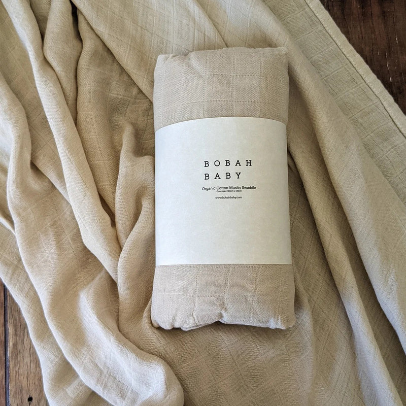 Bobah Baby - Organic Cotton Muslin Swaddle | Stone