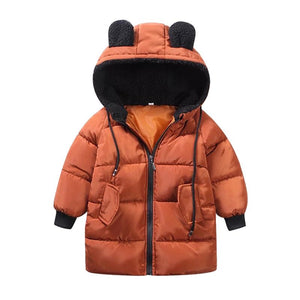 Bear Knee Length Puffer Jacket | Brown