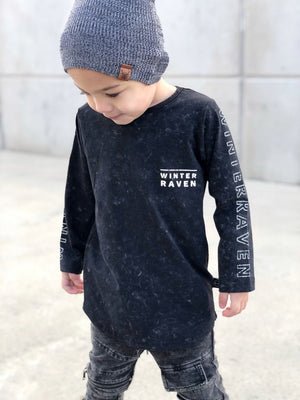 Winter and Raven - Acid Wash Long Sleeve Top