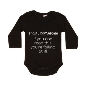 MLW By Design - Social Distancing Long Sleeve Bodysuit | White or Black