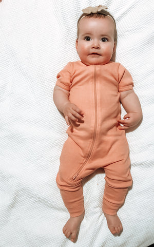 MLW By Design - Ribbed Zip Short Sleeve Onesies | 5 Colors