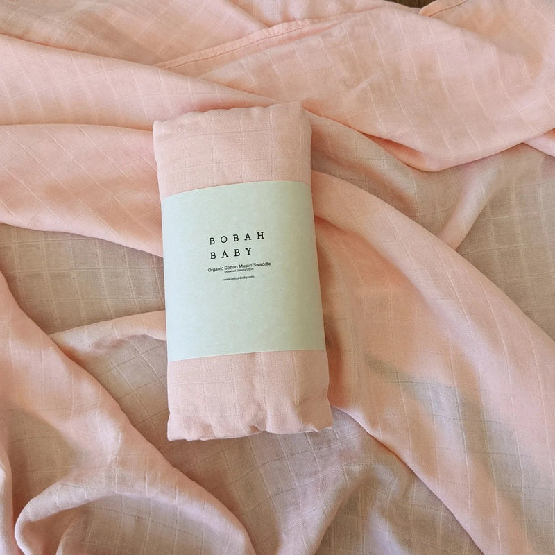 Bobah Baby - Organic Cotton Muslin Swaddle | Candy Coral