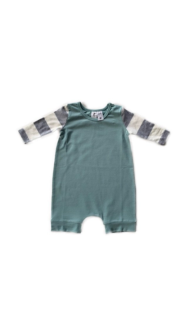 Little Wolfie - Striped Sleeve Sage Romper