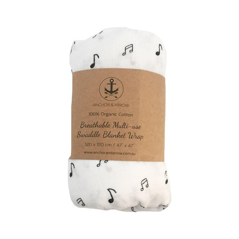 Anchor & Arrow - Music Notes Organic Bamboo Cotton Swaddle