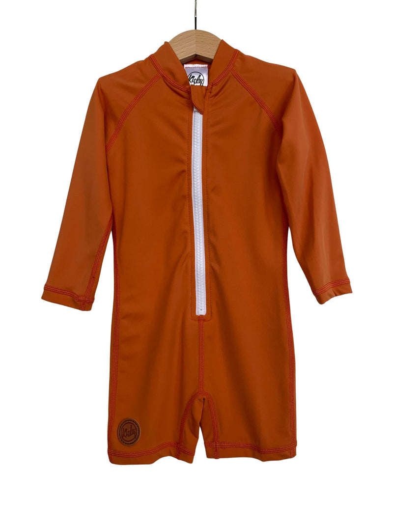 Kicky Swim - One Piece Rashguard Suit | Rust Orange