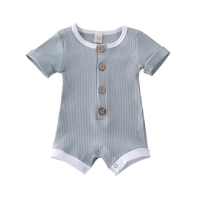 Finn Button Romper | Blue