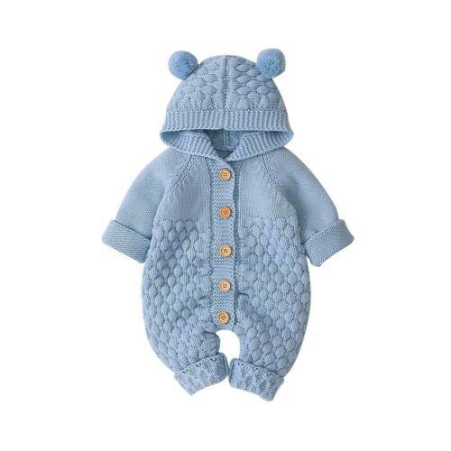 Bear Knit Onesie | Blue
