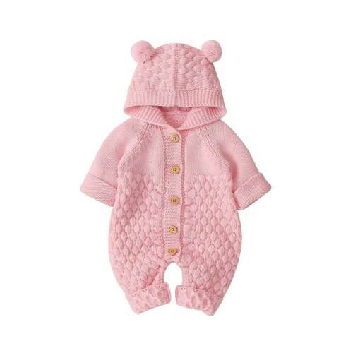Bear Knit Onesie | Pink