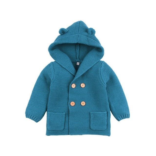 Bear Hooded Cardigan | Turquoise