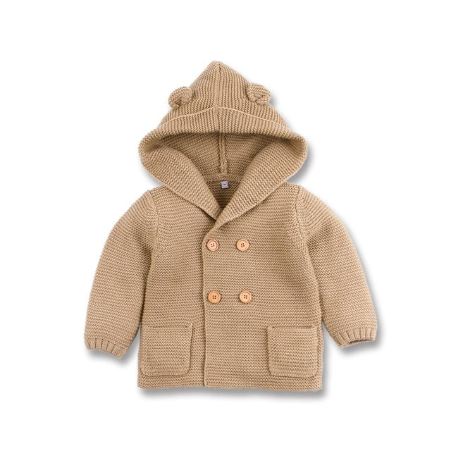 Bear Hooded Cardigan | Latte