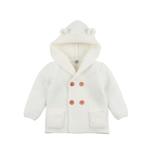 Bear Hooded Cardigan | White