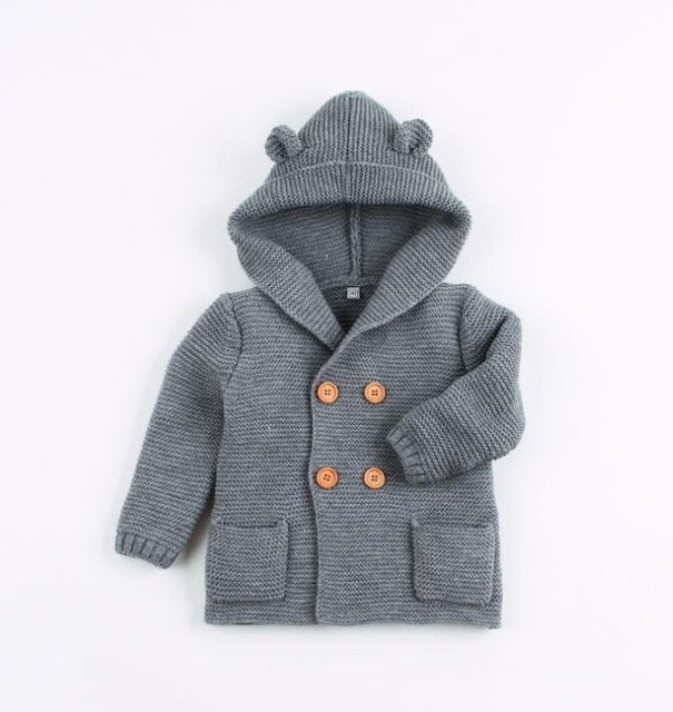 Bear Hooded Cardigan | Grey