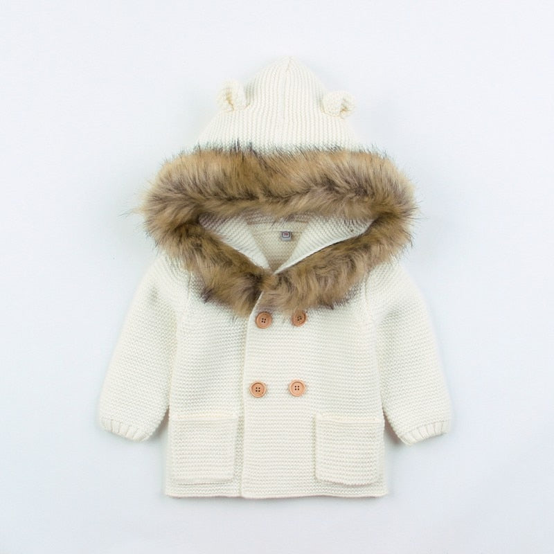 Fluffy Hood Cardigan | White