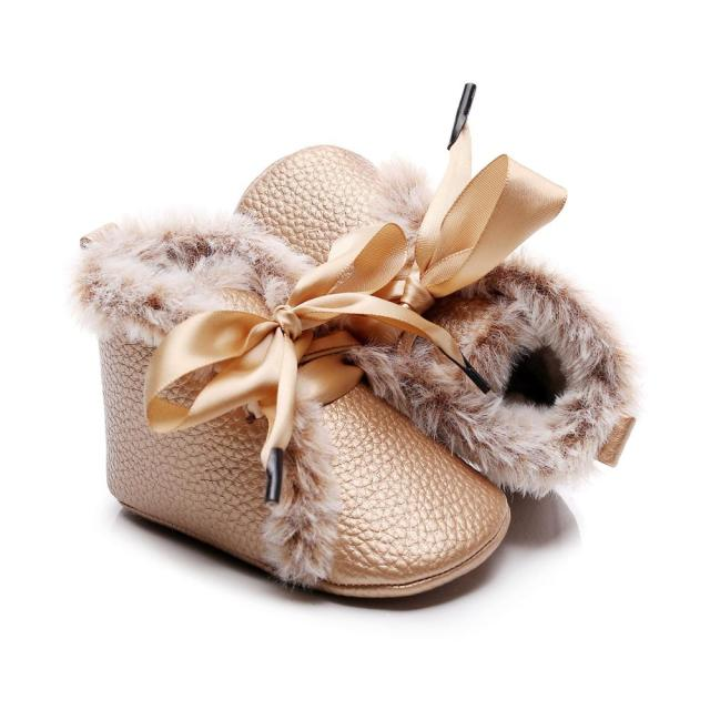 Fluffy Ribbon Boots | Gold