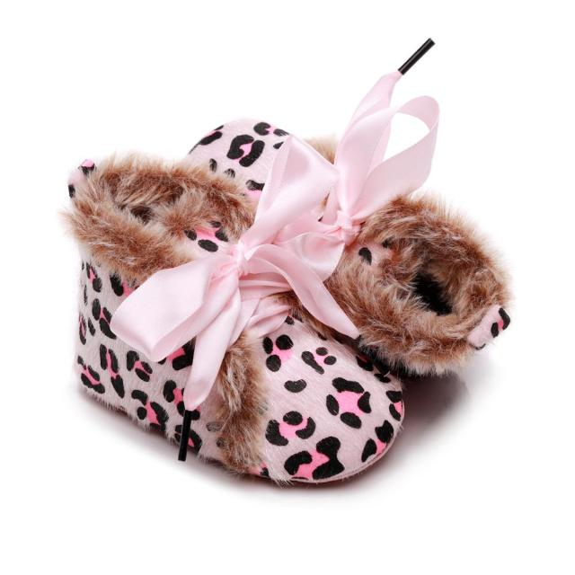 Fluffy Ribbon Boots | Pink Leopard