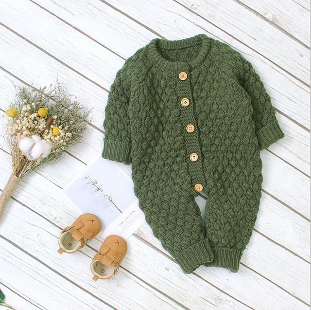 Cosy Knit Button Onesie | Forest Green