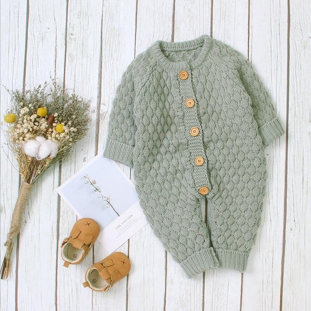Cosy Knit Button Onesie | Pistachio