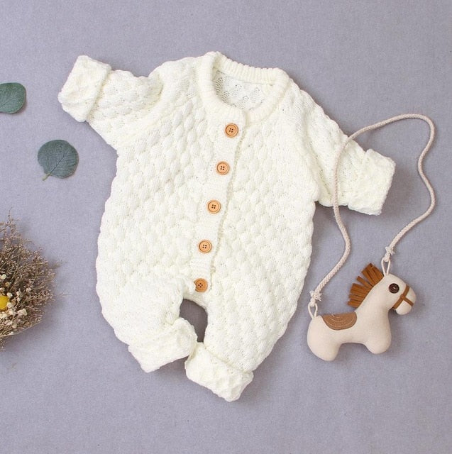 Cosy Knit Button Onesie | Warm White