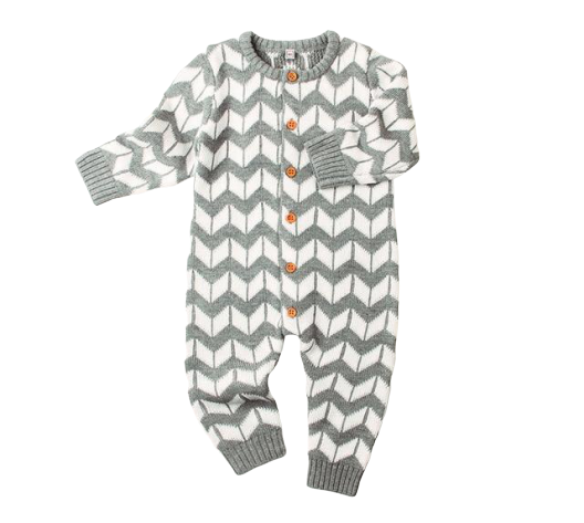 Chevron Knit Onesie | Grey