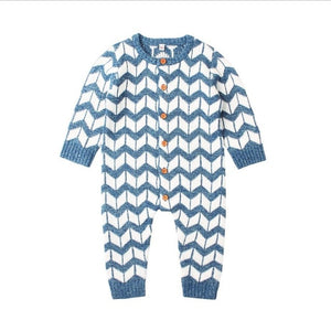 Chevron Knit Onesie | Blue