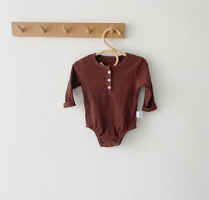 Essential Ribbed Romper | Brown