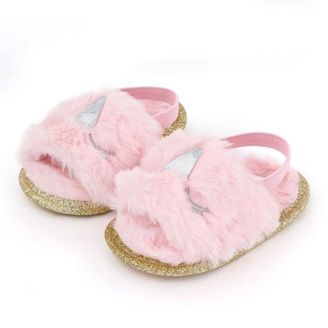 Fluffy Slides | Pink Unicorn