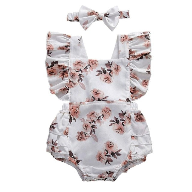 Arabella White Romper & Matching Headband