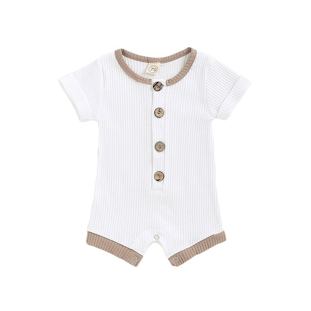 Finn Button Romper | White