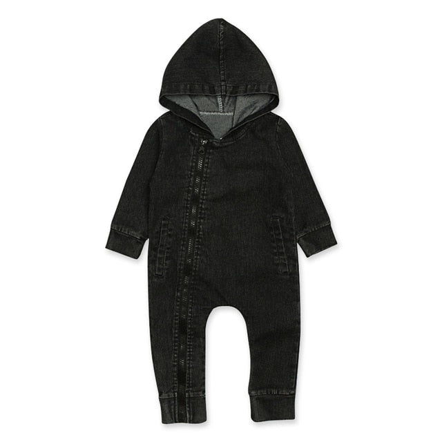 Denim Zip Onesie | Black