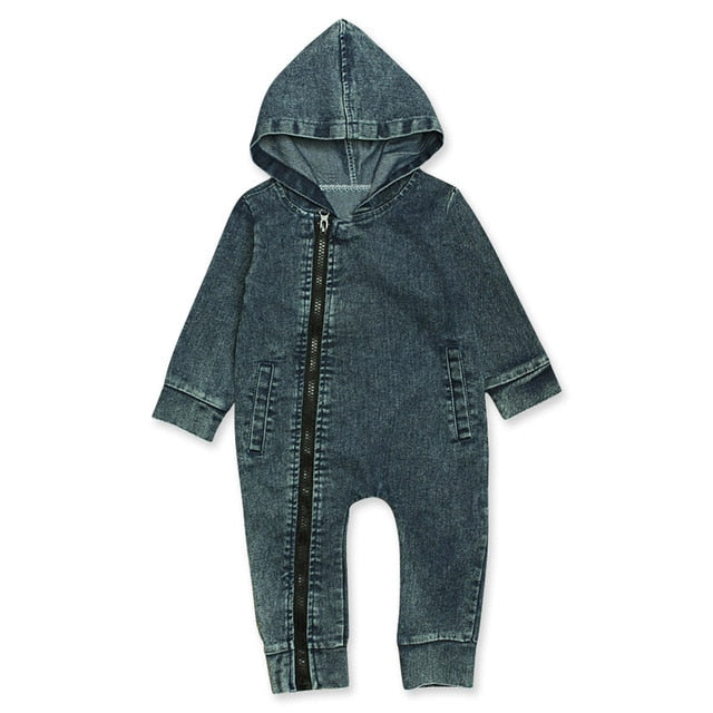 Denim Zip Onesie | Blue