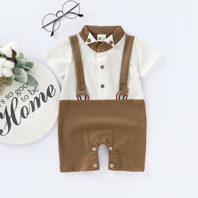 Gentleman Party Romper | Brown