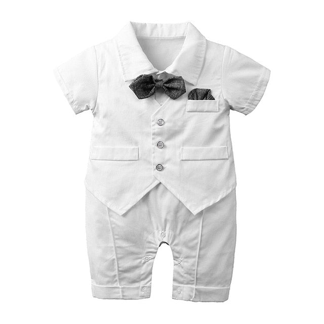 Formal Boys Romper | White