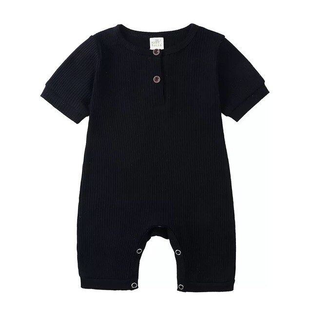 Ribbed Short Sleeve Button Romper | Black