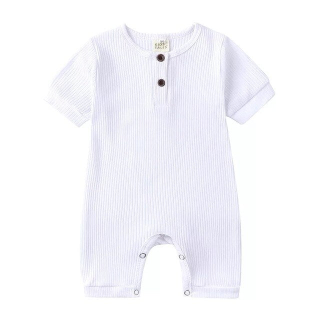 Ribbed Short Sleeve Button Romper | White