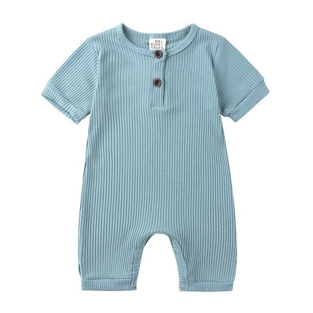 Ribbed Short Sleeve Button Romper | Blue