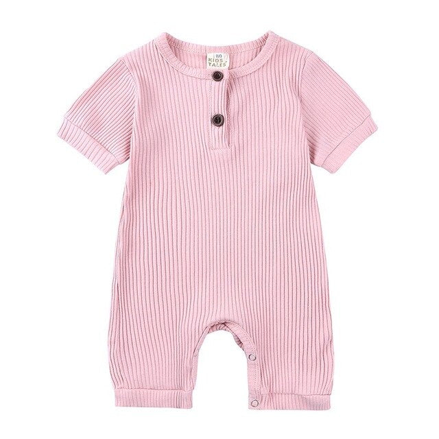 Ribbed Short Sleeve Button Romper | Pink