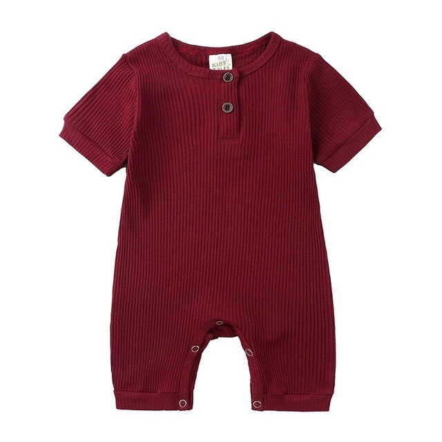 Ribbed Short Sleeve Button Romper | Burgundy