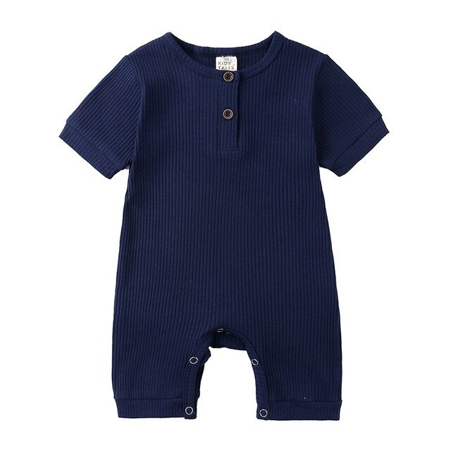 Ribbed Short Sleeve Button Romper | Navy