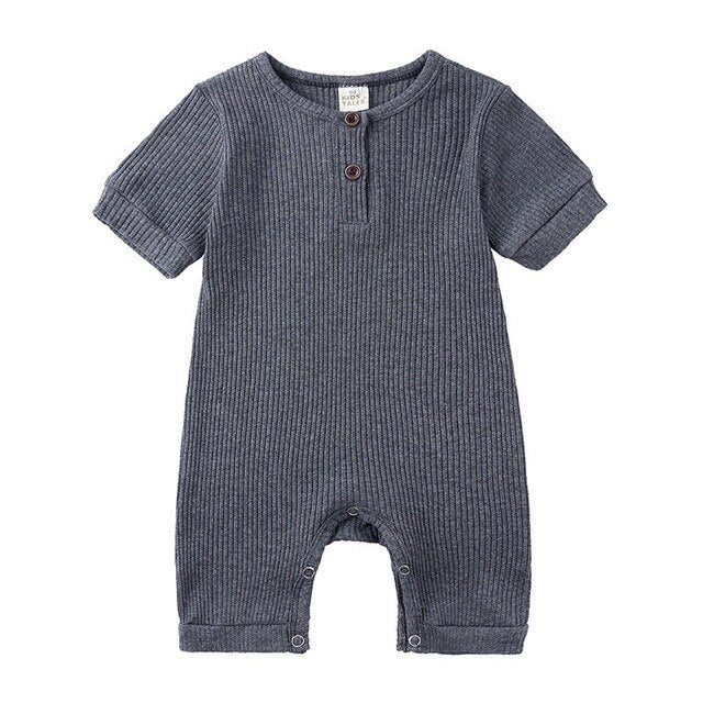 Ribbed Short Sleeve Button Romper | Grey