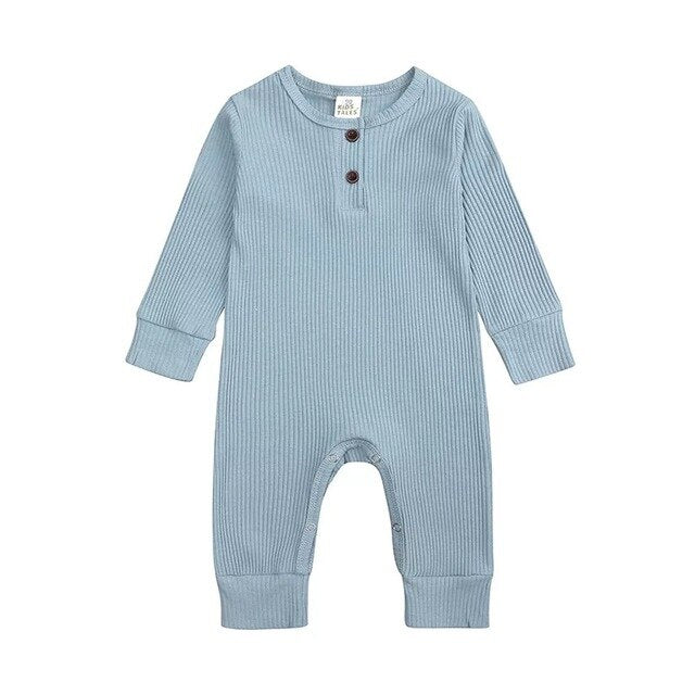 Ribbed Long Sleeve Button Romper | Blue