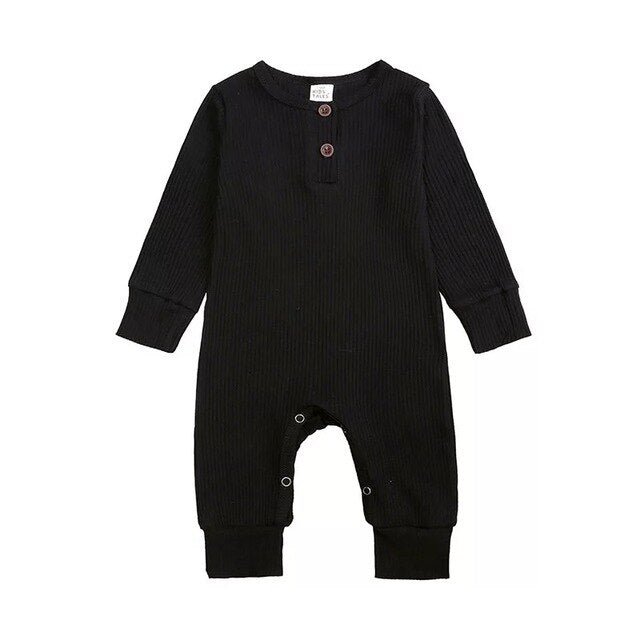 Ribbed Long Sleeve Button Romper | Black