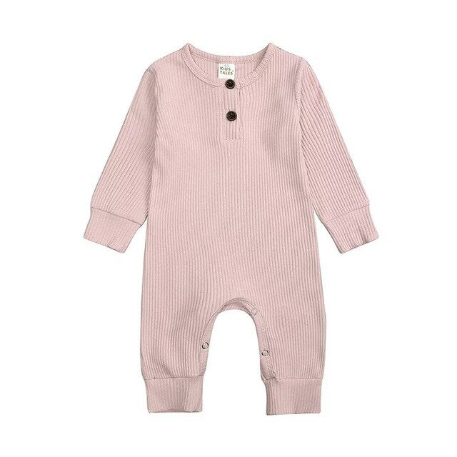 Ribbed Long Sleeve Button Romper | Pink