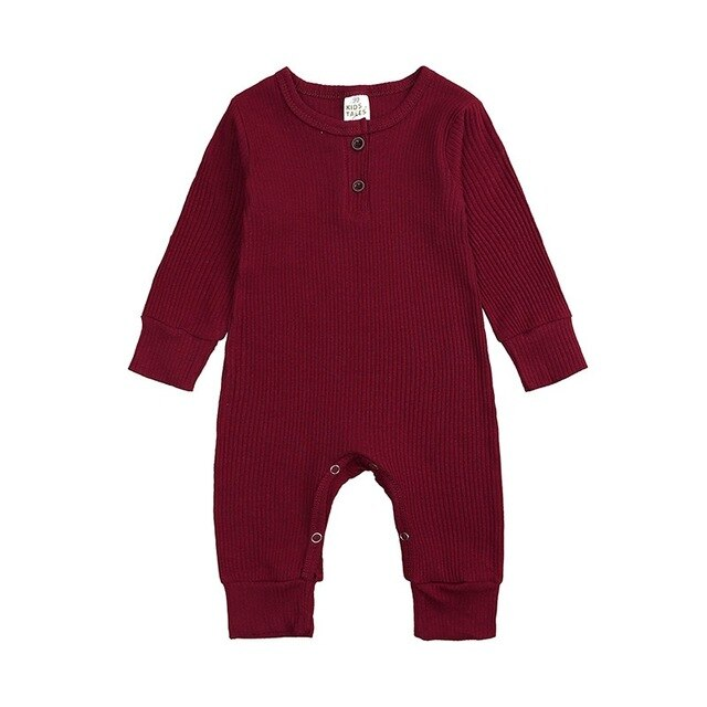 Ribbed Long Sleeve Button Romper | Burgundy