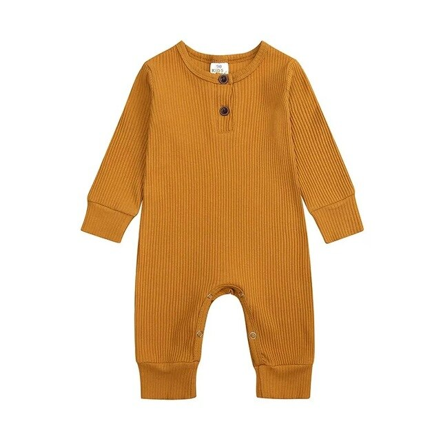 Ribbed Long Sleeve Button Romper | Teddy Brown