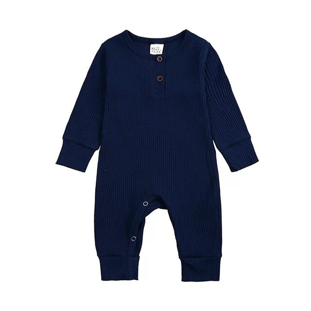 Ribbed Long Sleeve Button Romper | Navy