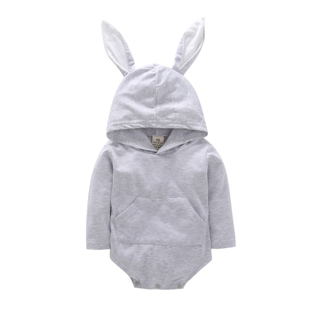 Bunny Ears Long Sleeve Bodysuit | Grey