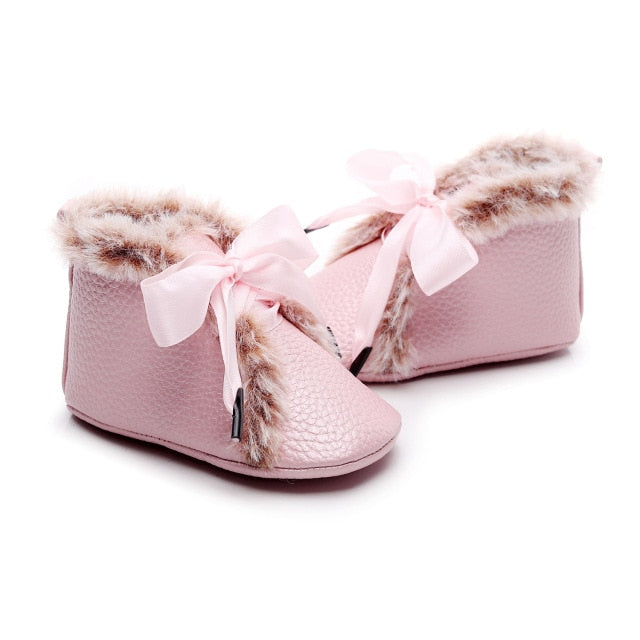 Fluffy Ribbon Boots | Pink