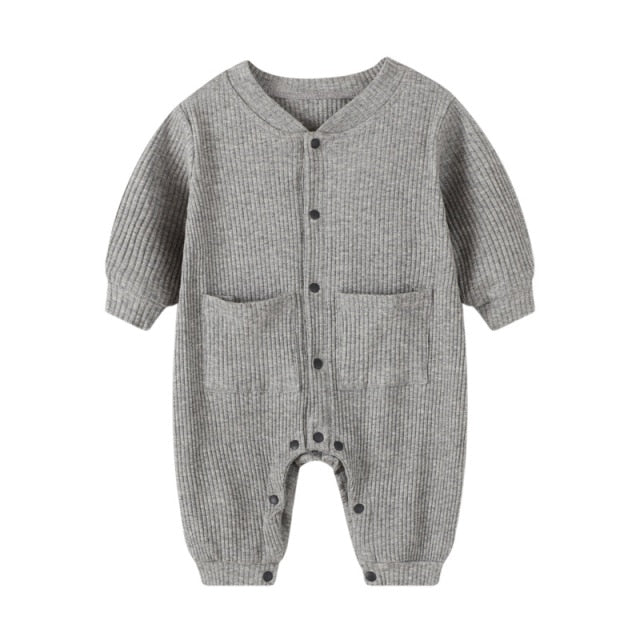 Ribbed Pocket Onesie | Grey